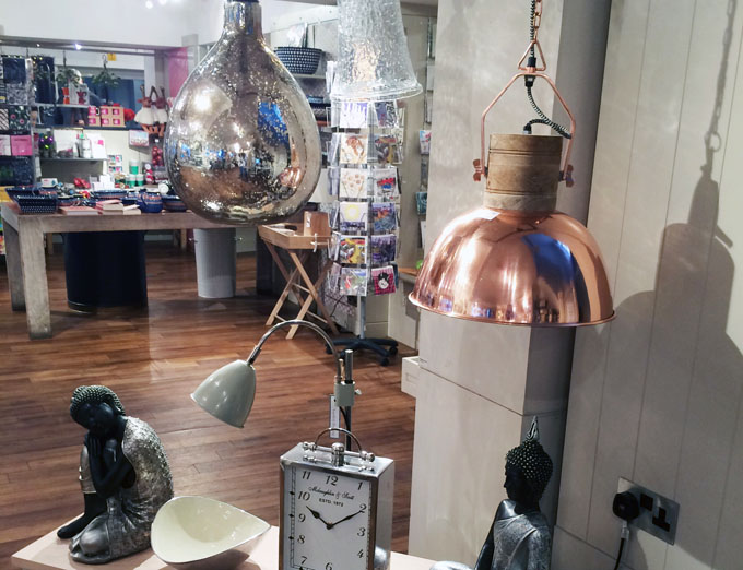 Copper lampshade at the Chesters by the River shop