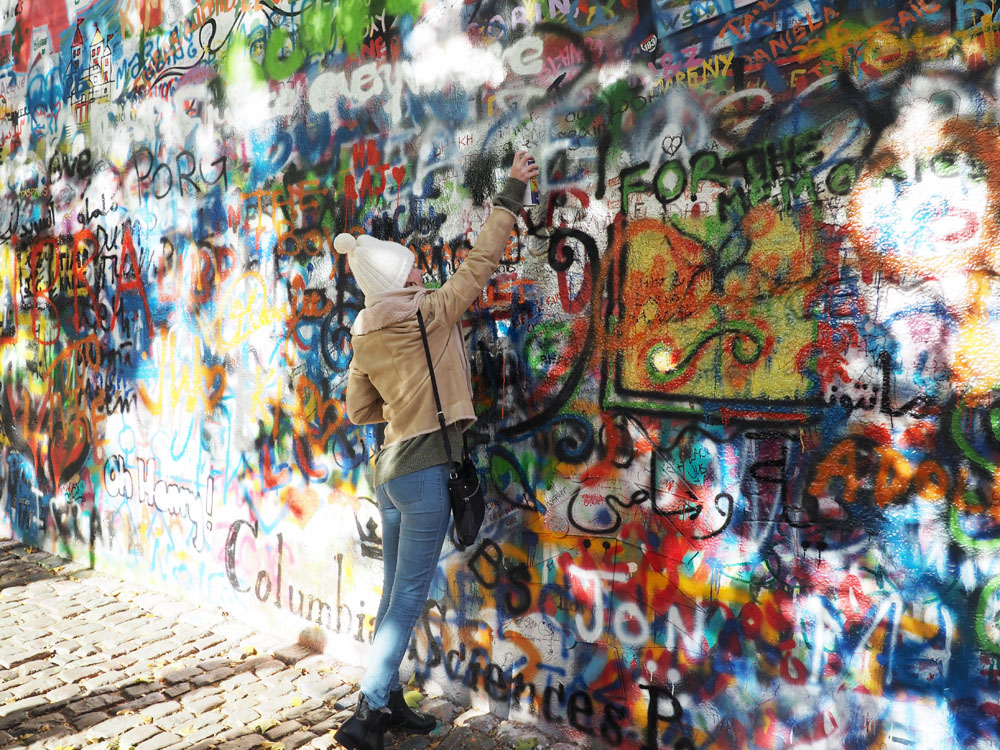 John Lennon wall prague girl graffiti