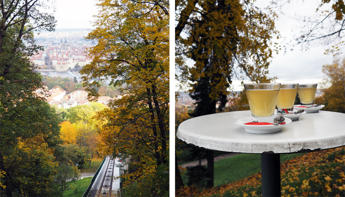Prague funicular drinks autumn