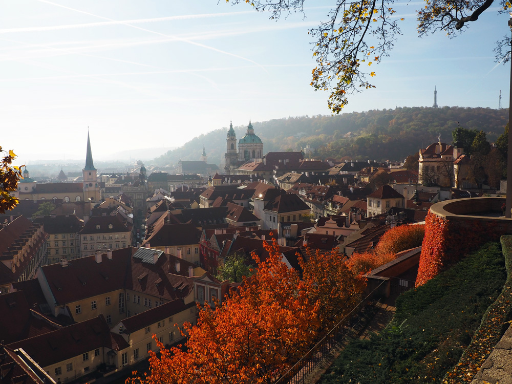 Prague castle city view autumn