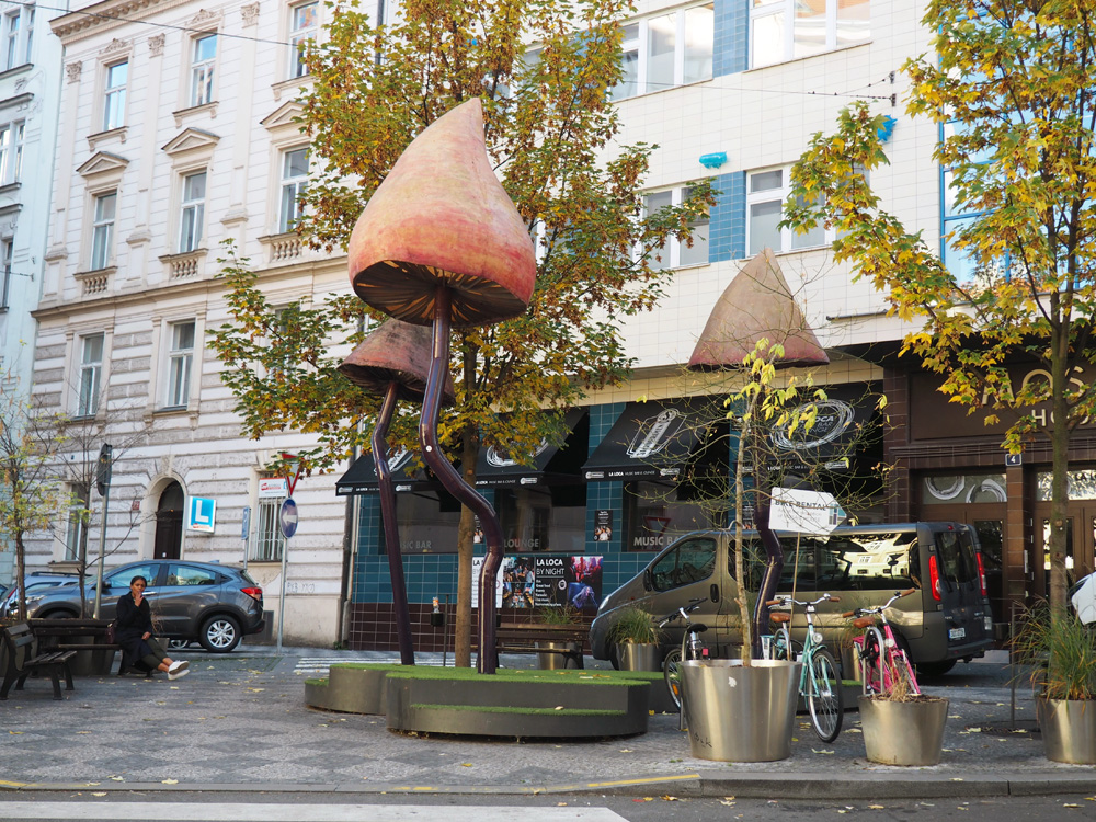 Prague mushroom sculpture art