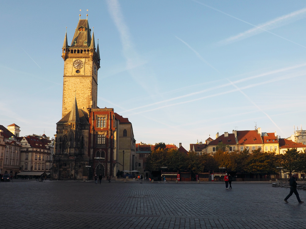 Prague old town square morning