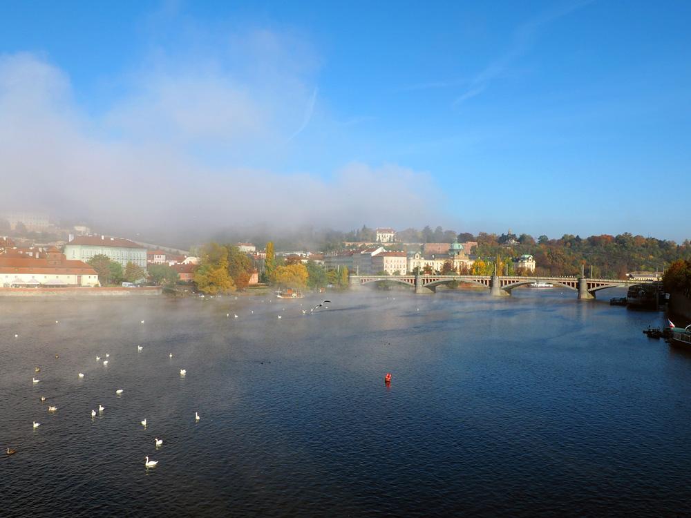 Prague Vltava River morning