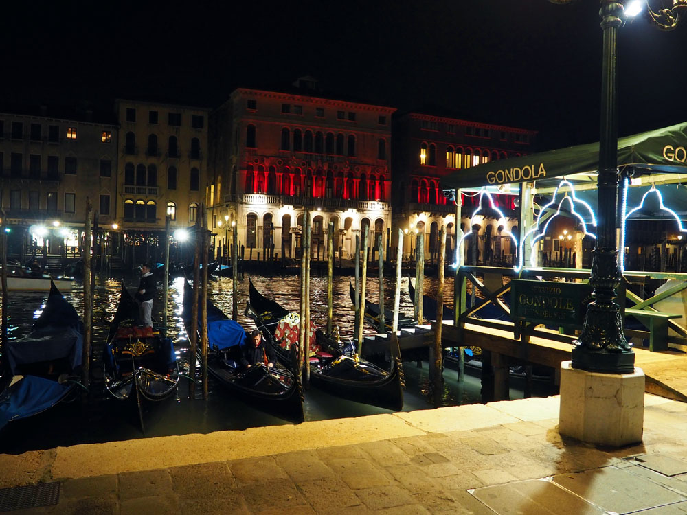 Venice gondolas at night